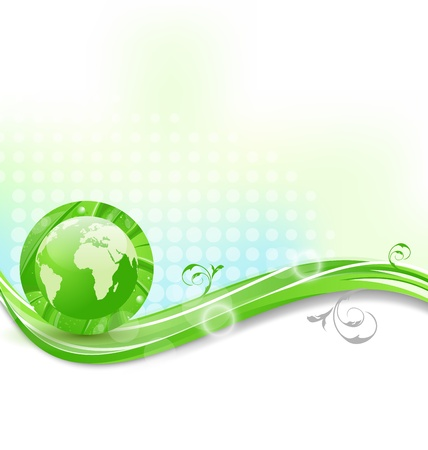 Illustration background with global planet and eco green leaves  illustration