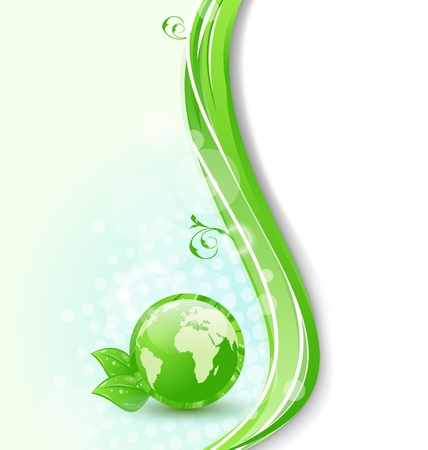Illustration background with global planet and eco green leaves Stock Illustration - 18433931
