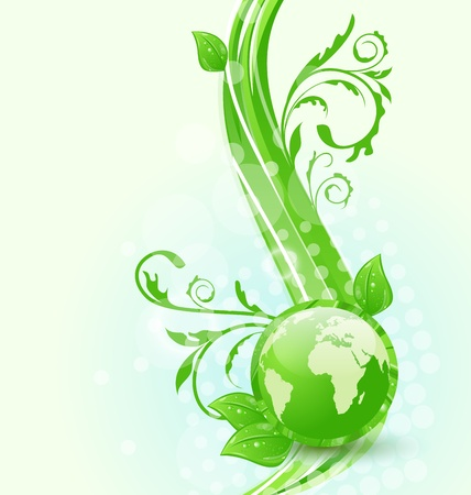 Illustration wavy background with global planet and eco green leaves  illustration