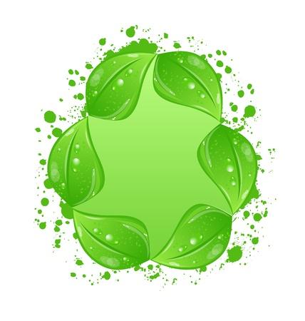Illustration green eco leaves label Stock Illustration - 18434057