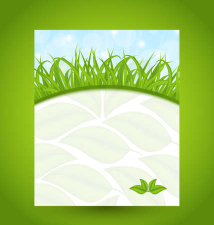 Illustration ecology card with green grass and eco leaves   Stock Illustration - 18434054
