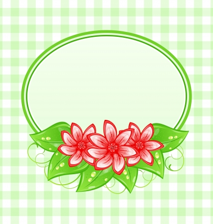Illustration cute spring card with flowers and leaves  illustration