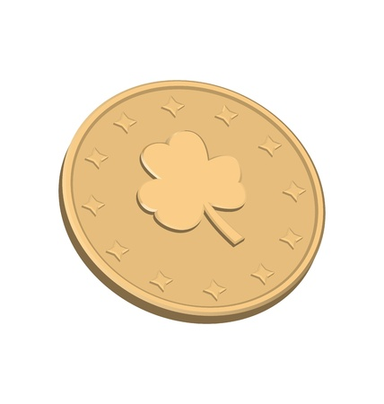 Golden coin with clover at st Patrick Day Stock Photo - 18433829