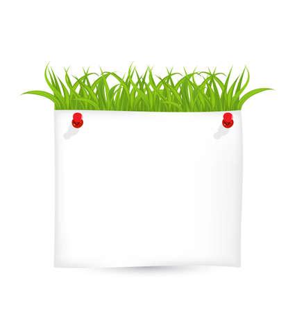 Illustration paper sheet with green grass Stock Illustration - 18433835