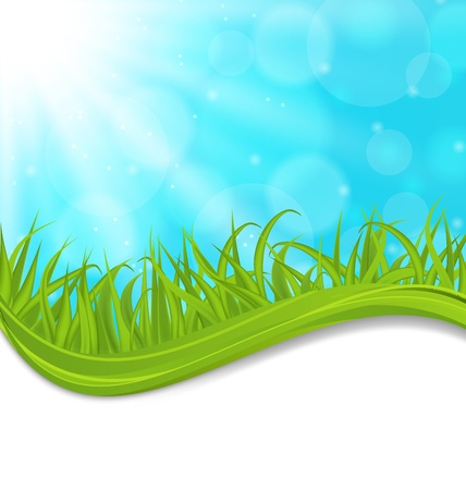 Illustration spring natural card with green grass   Stock Illustration - 18434039