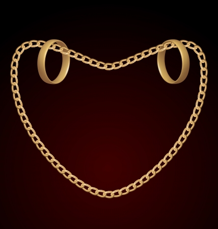Illustration of jewelry two rings on golden chain of heart shape Stock Illustration - 18433939