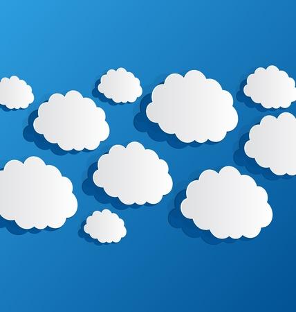 Illustration set cut out clouds, blue paper Stock Illustration - 19676246