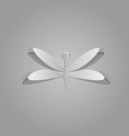adder: Illustration of dragonfly cut from paper