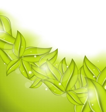 Illustration ecology background with eco green leaves - vector Stock Illustration - 19676335