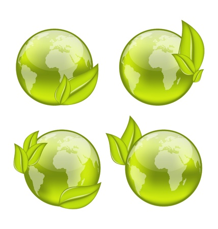 Illustration set icon world with eco green leaves isolated on white background - vector Stock Illustration - 19676427