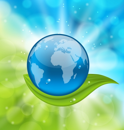 Illustration planet earth with green leaf - vector Stock Illustration - 19676339