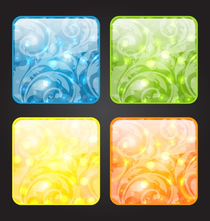 Illustration set four seasonal icon with floral colorful background - vector Stock Illustration - 19676342