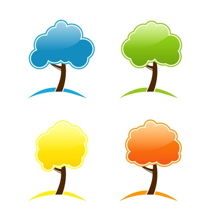 Illustration four seasonal icons with tree  illustration