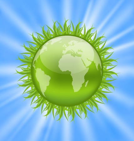 Illustration icon earth with grass, environment symbol Stock Illustration - 19676316
