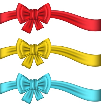 Illustration collection colorful gift bows with ribbons - vector illustration