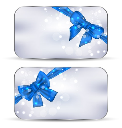 Illustration set labels with blue gift bows isolated - vector illustration