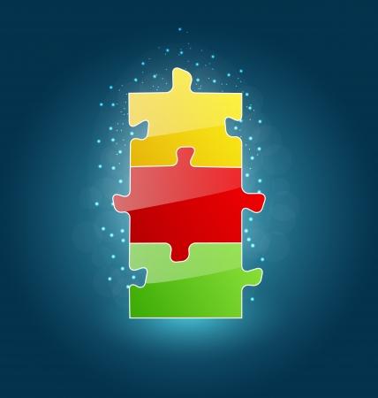 Illustration business concept with set puzzle pieces for success venture  illustration