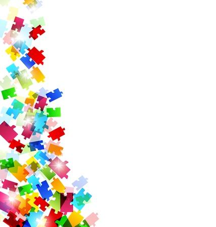 Illustratie abstracte achtergrond met een set kleurrijke puzzelstukken