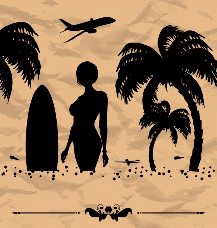 oceanside: Illustration design elements for summer holiday card - vector