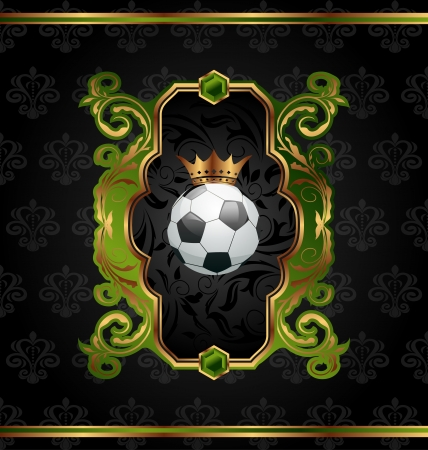 Illustration football label with golden crown - vector illustration