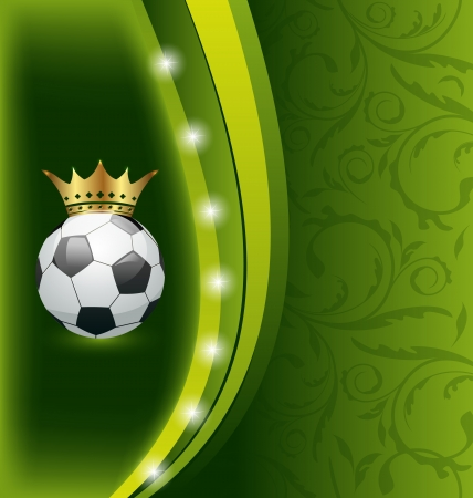 Illustration football card with ball and crown - vector illustration