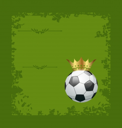 Illustration football retro grunge card with ball and crown - vector illustration