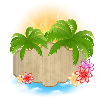 palmtrees: Illustration wooden signboard with palms and flowers on the seashore - vector