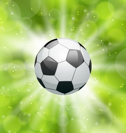 Illustration football light background with ball - vector illustration