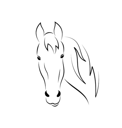 horsehair: Illustration symbol outline head horse isolated on white background