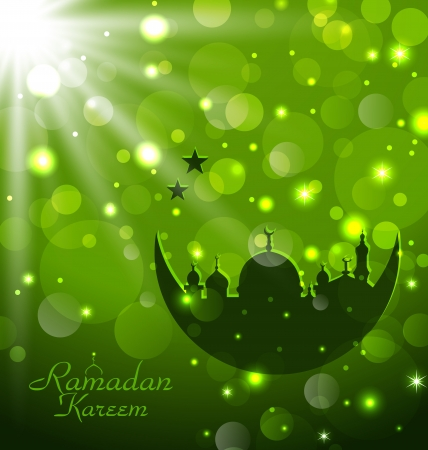 quran: Illustration islamic glow card for Ramadan Kareem