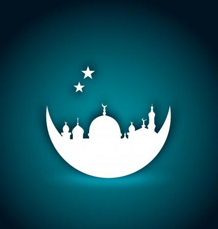 mezquita: Ilustraci�n de tarjetas de felicitaci�n para el Ramad�n Kareem