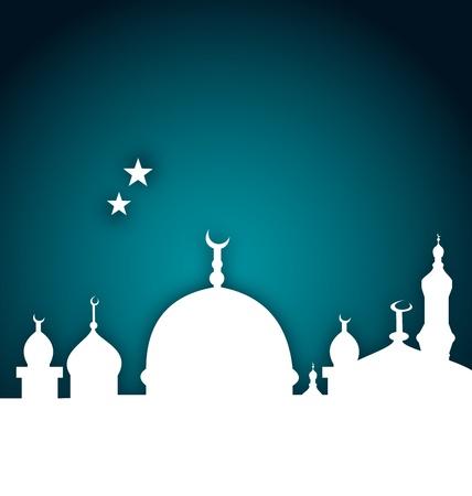 Illustration elegant card with beautiful mosque  Illustration