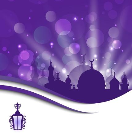 Illustration greeting card template for Ramadan Kareem