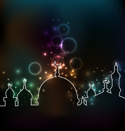 zoha: Illustration cute glowing background with mosque