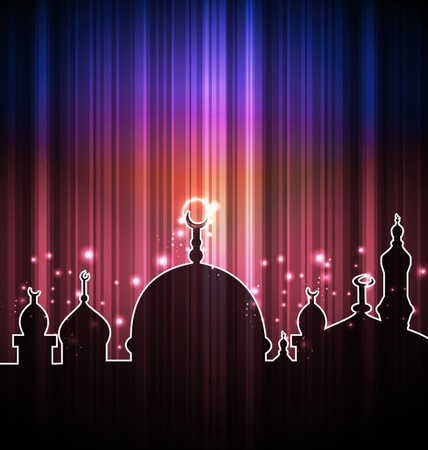 zoha: Illustration cute shine card with mosque  Illustration