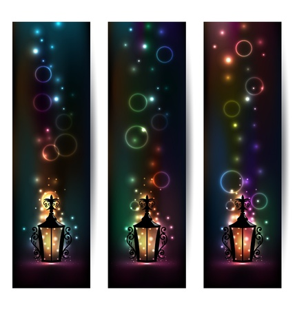 Illustration set islamic light banners with lantern