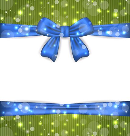 Illustration Christmas glowing card with ribbon bows - vector Stock Illustration - 20945342