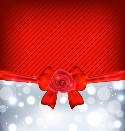 Illustration festive background with gift bow and rose - vector illustration
