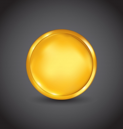 Illustration golden coin with shadow on dark background - vector