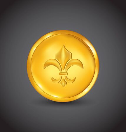 Illustration golden coin with fleur de lis on black background - vector Stock Illustration - 20945357