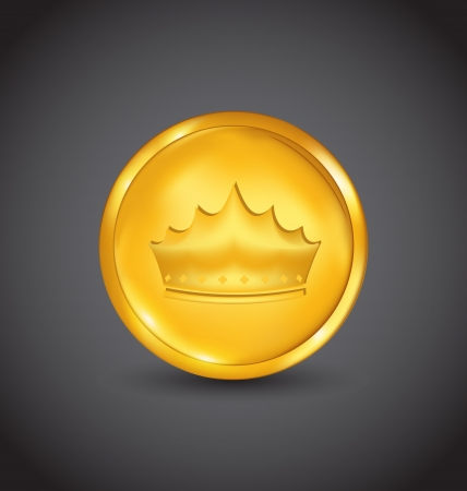 Illustration golden coin with heraldic crown on black background - vector Stock Illustration - 20945358