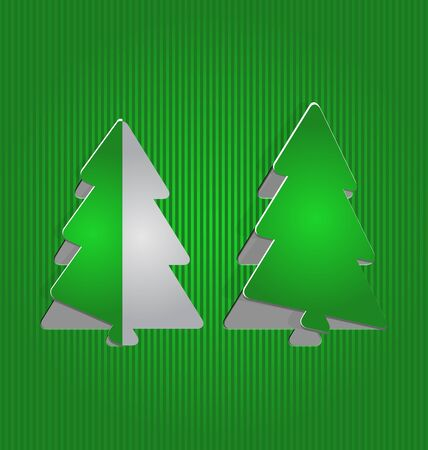 Illustration Christmas cutout paper tree, minimal background - vector illustration