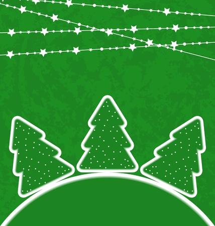 Illustration Christmas set trees with garland - vector  illustration