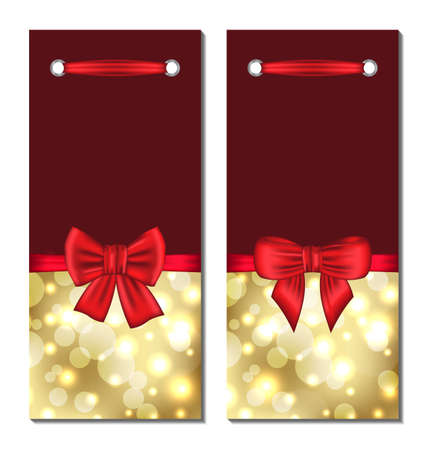 Illustration set holiday glowing cards with gift bows - vector illustration