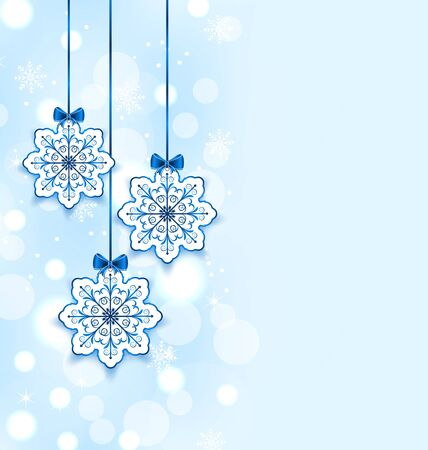 Illustration Christmas three snowflakes with bows - vector illustration