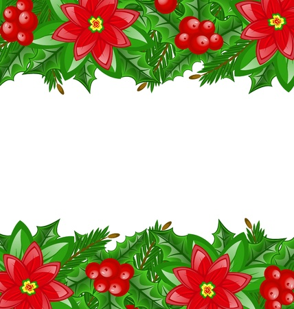 Illustration Christmas decoration with holly berry and poinsettia - vector illustration