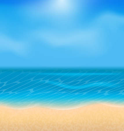 oceanside: Illustration summer holiday background with sunlight - vector