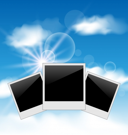 Illustration set pictures on blue sky background - vector illustration
