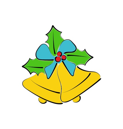 weihnachten: Illustration sketch composition two Christmas bells isolated - vector