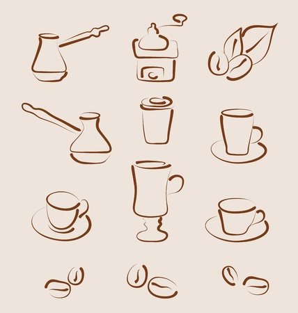 Illustration sketch set coffee design elements - vector illustration